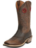 Men's Ariat Boots HERITAGE ROUGHSTOCK WIDE SQUARE TOE BROWN OIL ROWDY #10012788