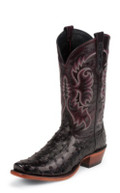 Nocona Men's BLACK CHERRY FULL QUILL OSTRICH/BLACK CHERRY CRUSH OFF GOAT #MD6513