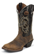 Men's Justin JUSTIN STAMPEDE COLLECTION TAN DISTRESSED BUFFALO WITH PERFED SADDLE VAMP/BACK DEERCOW #2531