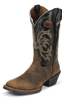 MEN'S JUSTIN ROLLIKER TAN STAMPEDE COLLECTION TAN DISTRESSED BUFFALO WITH PERFED SADDLE VAMP / BACK DEERCOW #2531