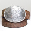 NOCONA Western Belt Med. Brown Distressed with Silver Tone Floral Buckle #N1011644