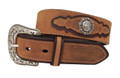 "DAN POST WESTERN BELT Crazy Horse Leather with Overlay, Concho and Buckle 1 1/2"" #9107500"
