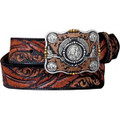 "JUSTIN TOOLED BELT Dancing Feathers Black 1 5/8"" #C12583"