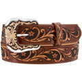 "TONY LAMA WESTERN TOOLED BELT Brown Tobacco Signature 1 1/2"" #C42245"