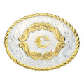 Montana Silversmiths Gold Filigree Initial Western Belt Buckle #5000C
