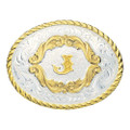 Montana Silversmiths Gold Filigree Initial Western Belt Buckle #5000J
