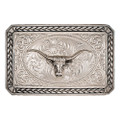 Montana Silversmiths Antiqued Wheat Trim Portrait Buckle with Longhorn #27200D-64