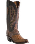 Women's Lucchese Tan Burnished Hornback Caiman and Espresso Tucson Calf #M5628