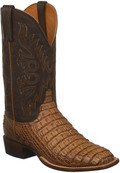 MEN'S LUCCHESE FISHER TAN BURNISHED HORNBACK CAIMAN WITH CHOCOLATE JERSEY CALF #C1025