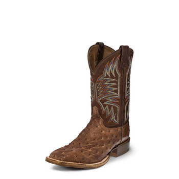 """MEN'S JUSTIN JOSIAH CPX COLLECTION VINTAGE DARK BROWN FULL QUILL OSTRICH / 11"""" TAN RANCH HAND COWHIDE #5158"""