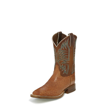 """MEN'S JUSTIN JOSIAH CPX COLLECTION COGNAC VINTAGE SMOOTH OSTRICH / 11"""" ORANGE COWHIDE Made in the USA #5250"""