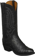 MEN'S LUCCHESE LUKE BLACK FULL QUILL OSTRICH #N1155