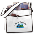 Non Woven PP Messenger Fabric Bag with Logo  -With Balck Lineing and Front Pocket