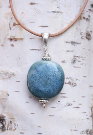 Sky Bella Sisu Bead on natural leather necklace
