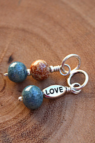 Nexus memorial keepsake top Sisu Beads:  sky and calico  bottom Sisu Bead:  sky  ~shown with optional LOVE charm