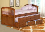 #45190 Twin Captains Bed with Trundle & 3 Drawers