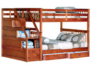 #45196 Full Full Staircase Bunk Bed 6/6 Slats