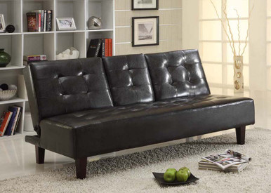 Faux Leather Futon Convertible With Drop Down Cup Holders Image 1