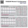 women cycle jersey size chart