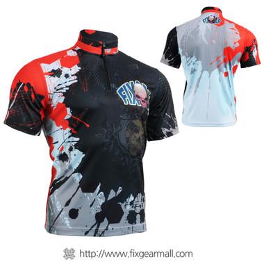 FIXGEAR BM-4402 Casual Mens short sleeve jersey 1/4 zip-up T-shirt