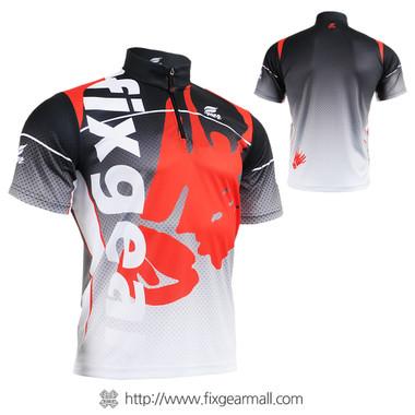 FIXGEAR BM-5002 Casual Mens short sleeve jersey 1/4 zip-up T-shirt
