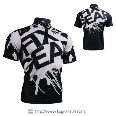 FIXGEAR BM-5402 Casual Mens short sleeve jersey 1/4 zip-up T-shirt