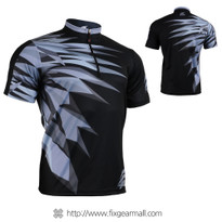 FIXGEAR BM-5902 Casual Mens short sleeve jersey 1/4 zip-up T-shirt