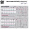 FIXGEAR Women Cycling Jersey Size Chart