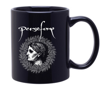 11oz. Black Mug with Persefone Wreath Design on both sides