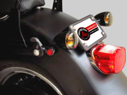 Black Gloss Turn Signal Relocation Kit for HD Softail Fat Boy