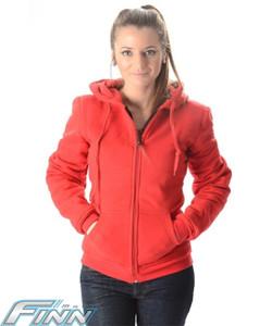 Ladies Red Kevlar Hoodie - Finn Moto
