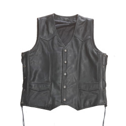 Mens Black Leather Motorcycle Vest