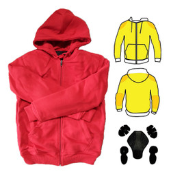 Red Kevlar Hoodie - Fully lined with kevlar. Extra kevlar at shoulders & elbows