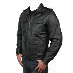 Small - Mens Military Motorcycle Leather Jacket
