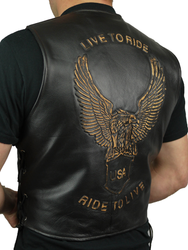 Mens Eagle Leather Motorcycle Vest