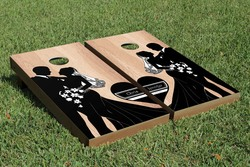 Hardcourt Bride and Groom Cornhole Set with Bags
