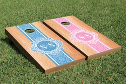 Hardcourt Monogram (Colored) Cornhole Set with Bags