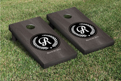 Onyx Circle Initial Cornhole Set with Bags