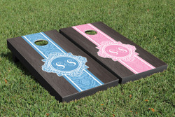 Onyx Monogram (Colored) Cornhole Set with Bags