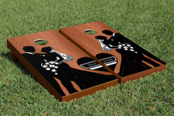 Rosewood Bride and Groom Cornhole Set with Bags