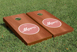 Rosewood Wedding Circle Cornhole Set with Bags