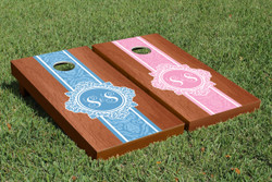 Rosewood Monogram (Colored) Cornhole Set with Bags