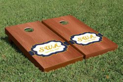Rosewood Wedding Badge Cornhole Set with Bags