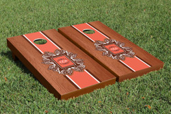 Rosewood Monogram Striped Cornhole Set with Bags