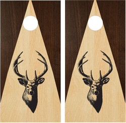 Stained (Two Tone Wood) Deer Silhouette Cornhole Set with Bags