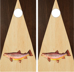 Stained (Two Tone Wood) Trout Cornhole Set with Bags