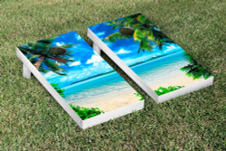 Tropical Beach Cornhole Set with Bags