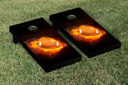 Flaming Football Cornhole Set with Bags