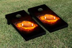 Flaming Football Cornhole Set with Bags