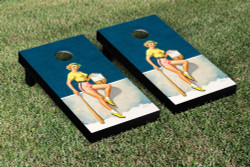 Baseball Pin Up Girl Cornhole Set with Bags